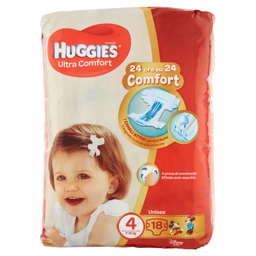 Huggies Ultra Comfort Pannolini Unisex 4 7-18 kg 18 pz