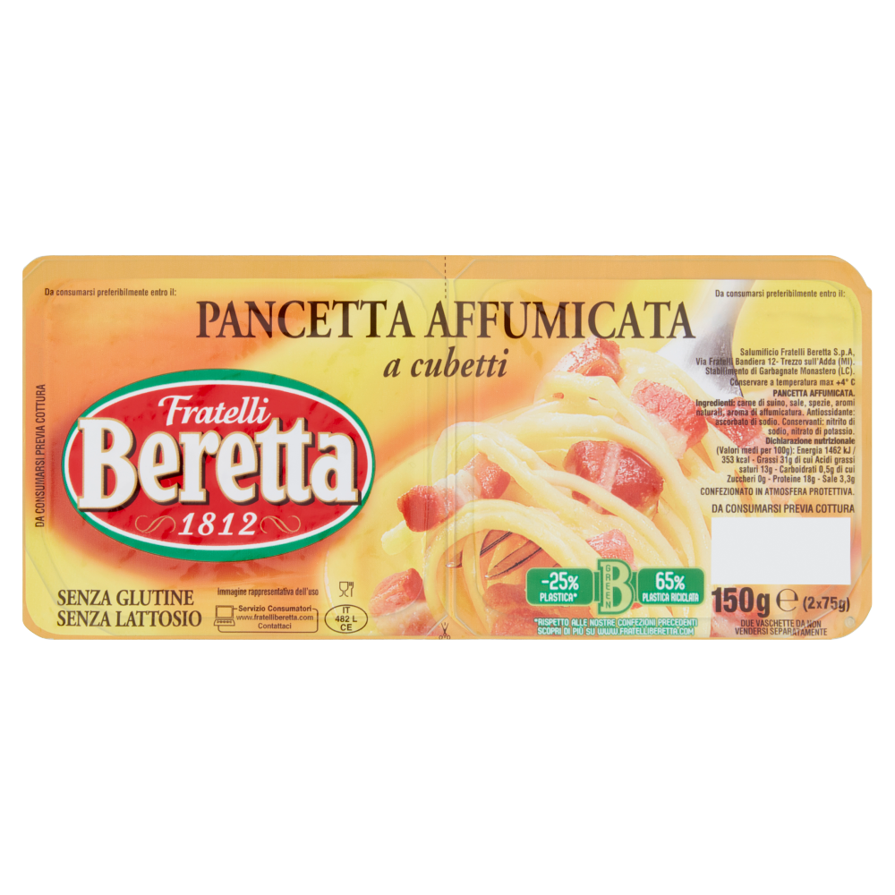 Fratelli Beretta Pancetta Affumicata a cubetti 2 x 75 g