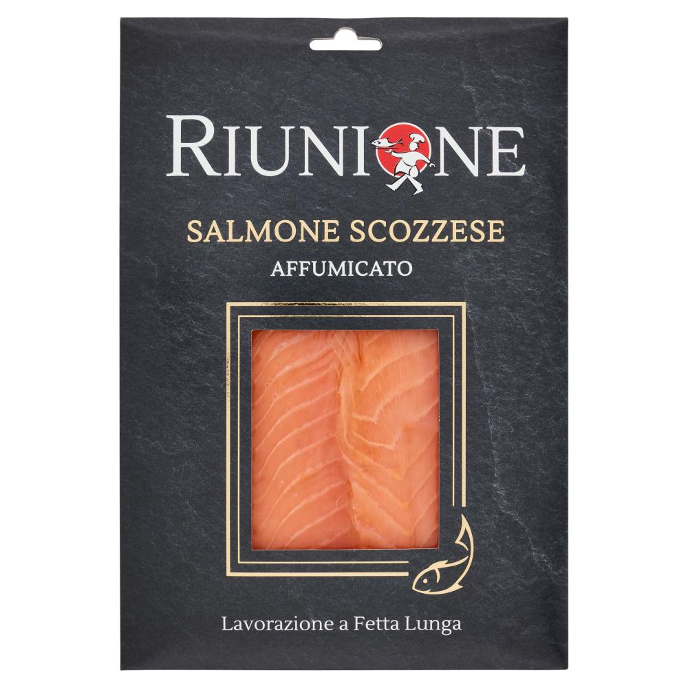 Riunione Salmone Scozzese Affumicato Lavorazione a Fetta Lunga 100 g