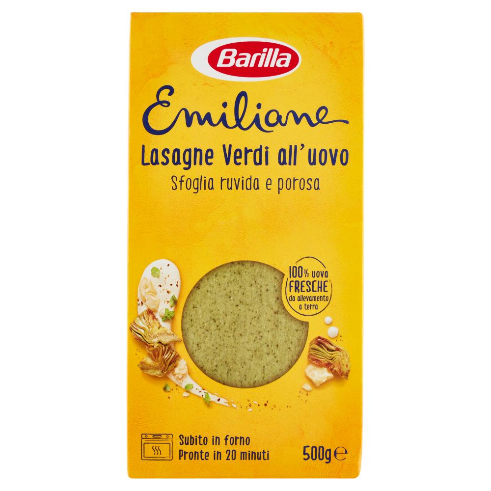 Barilla Emiliane Pasta all'uovo Lasagne verdi all'uovo sfoglia ruvida e porosa 500g