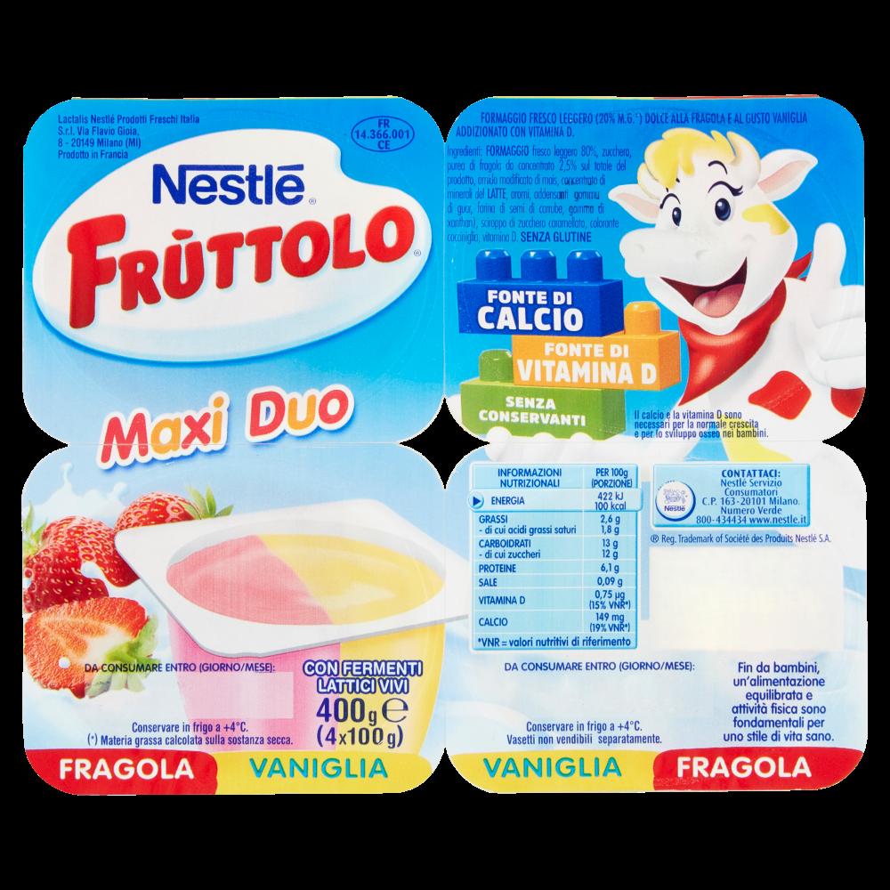 Nestlé Fruttolo Maxi Duo Fragola Vaniglia 4 X 100 G