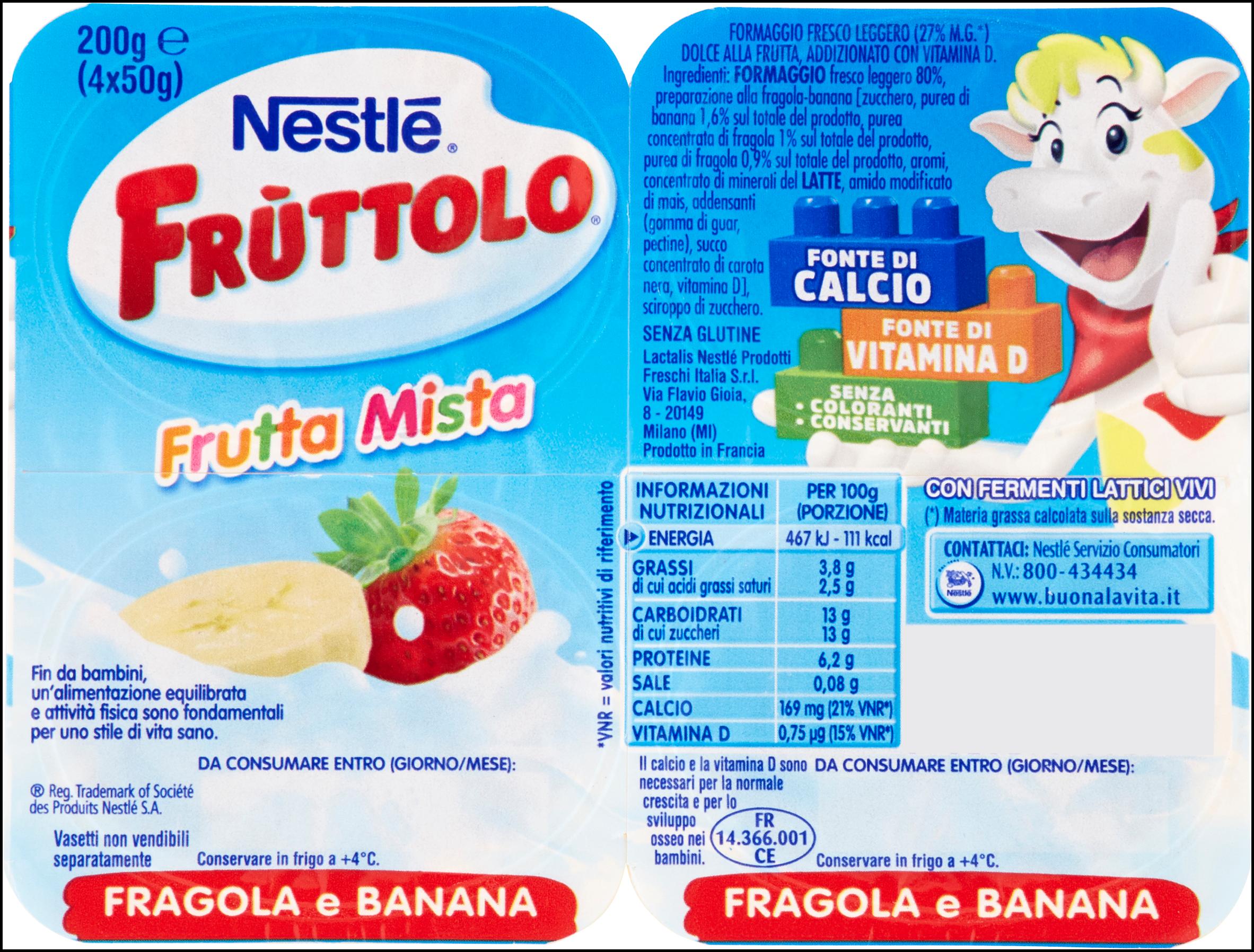 FRUTTOLO 50GX4 FRAGOLA E BANANA