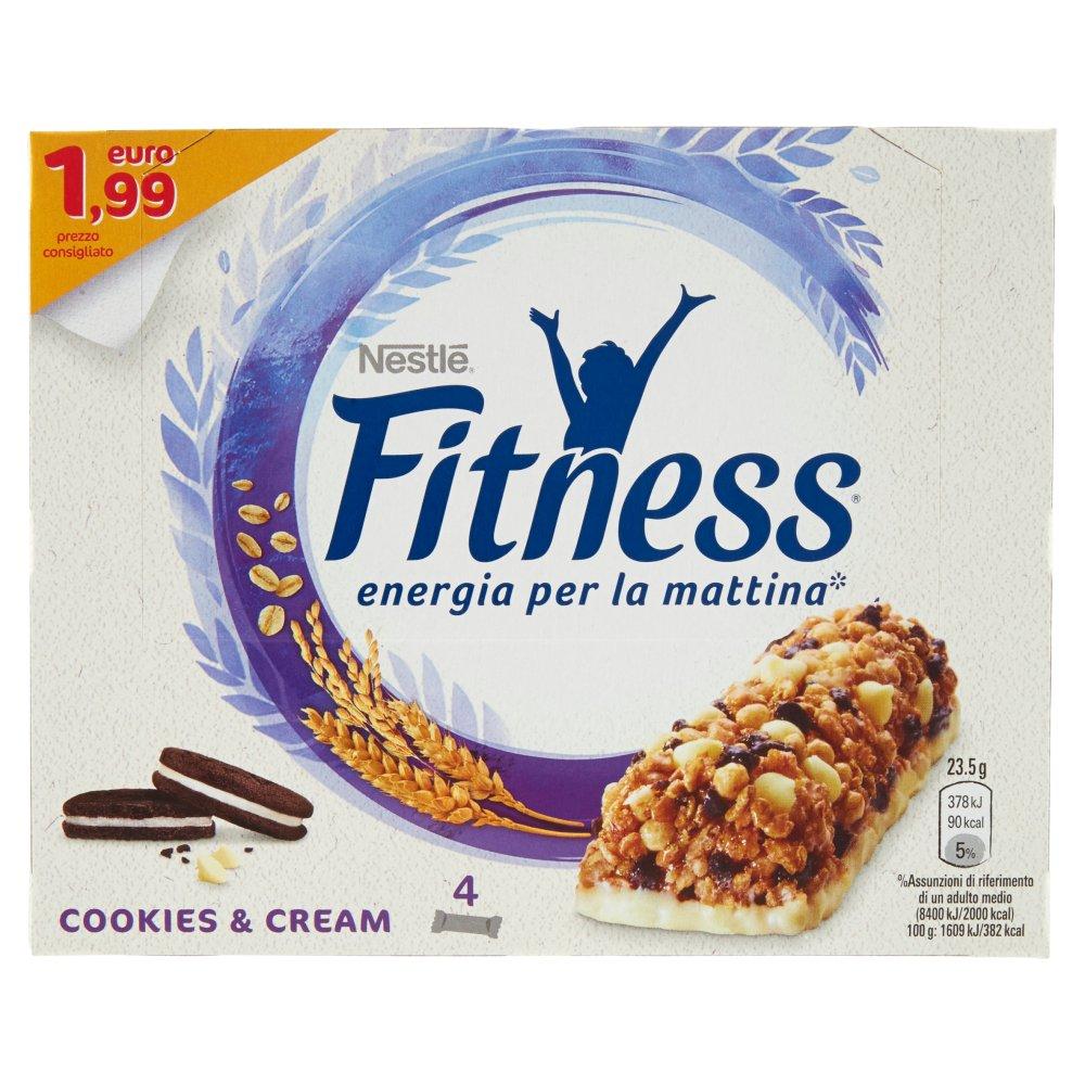 FITNESS COOKIES&CREAM Barretta di cereali integrali, biscotti al cacao e cioccolato bianco 4 pezzi