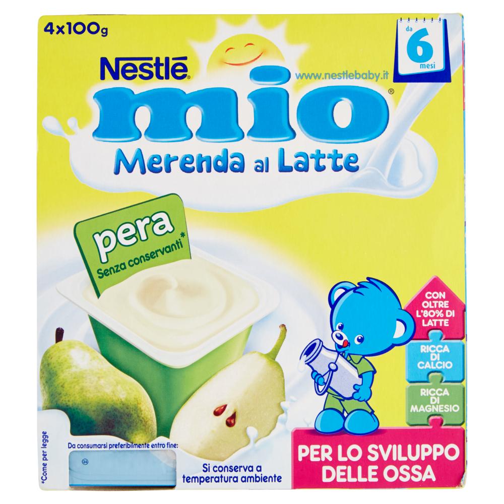 NESTLÉ MIO Merenda al Latte Pera da 6 mesi senza glutine 4 vasetti plastica 100g