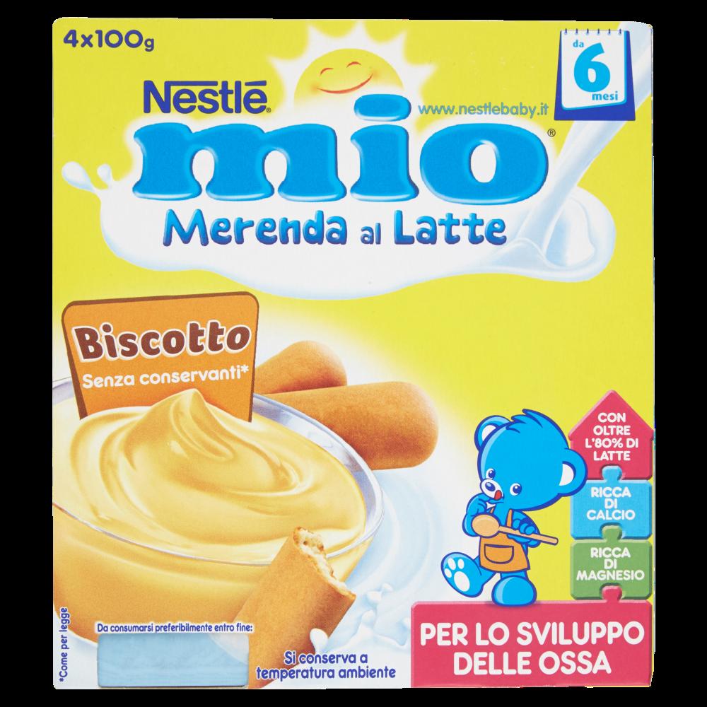 NESTLÉ MIO Merenda al Latte Biscotto da 6 mesi 4 vasetti plastica 100g