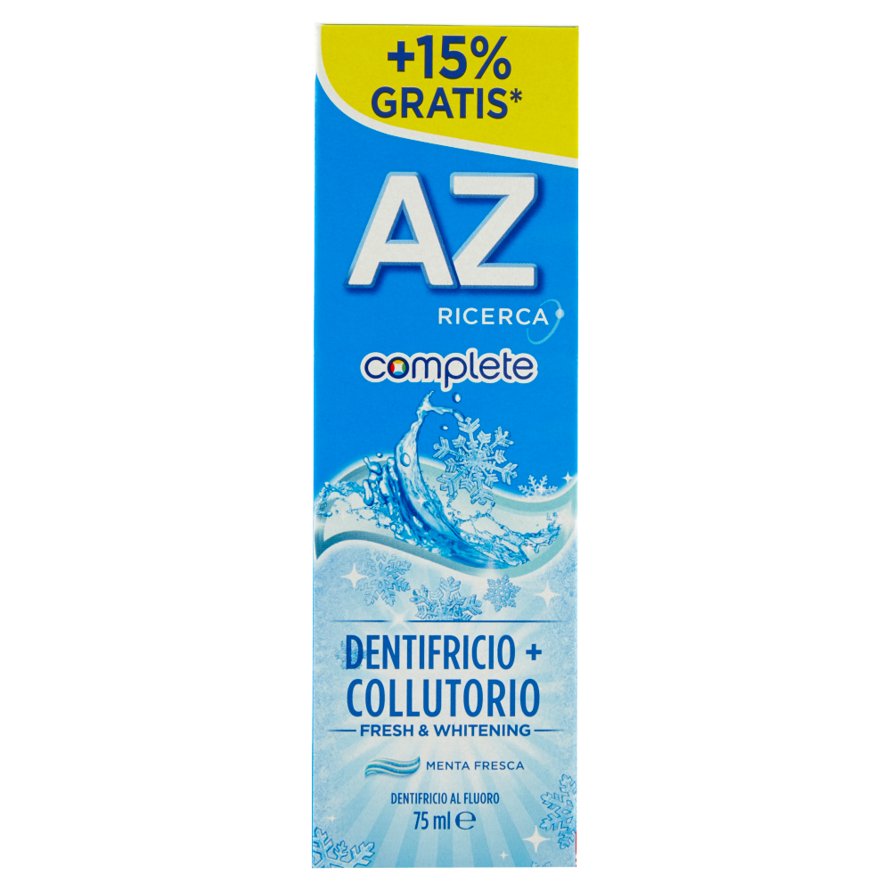 AZ Ricerca Dentifricio Complete+Collutorio Fresh & Whitening 65 ml + 10ml