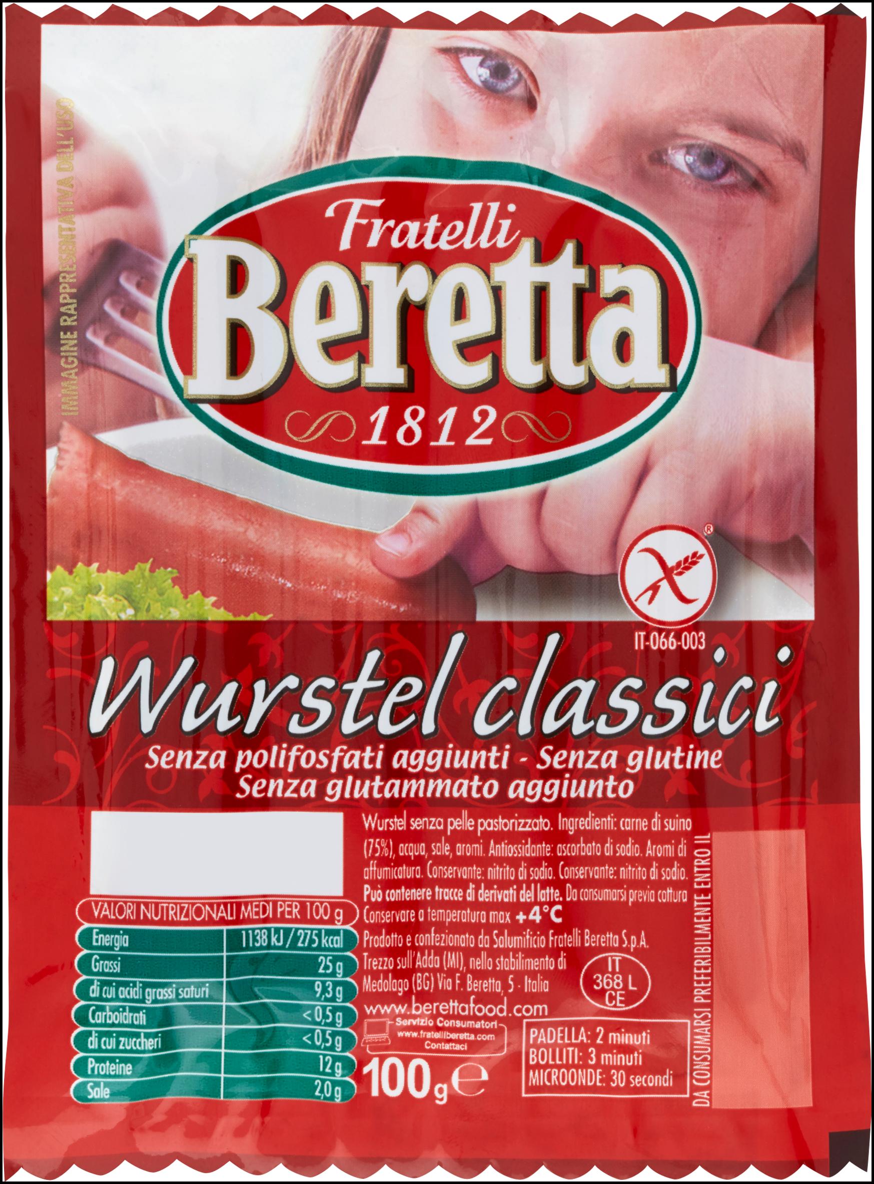WURSTEL SUINO  BERETTA 100GX4