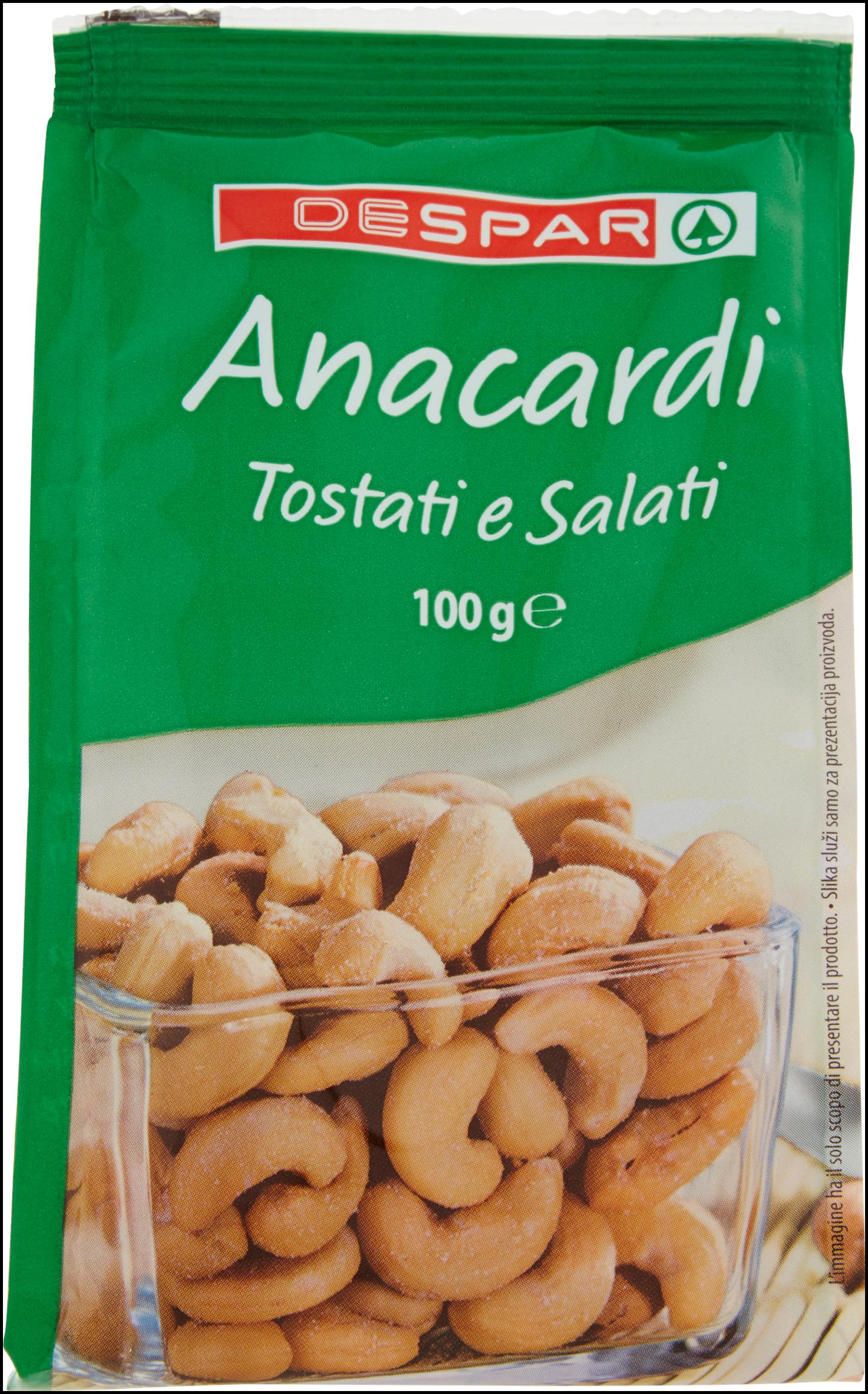 ANACARDI DESPAR 100G TOSTATI E SALATI