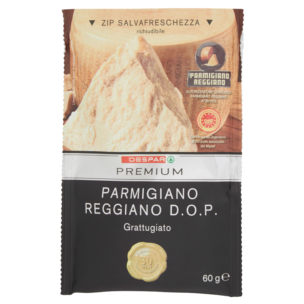 Despar Premium Parmigiano Reggiano D.O.P. Oltre 30 Mesi Grattugiato 60 g