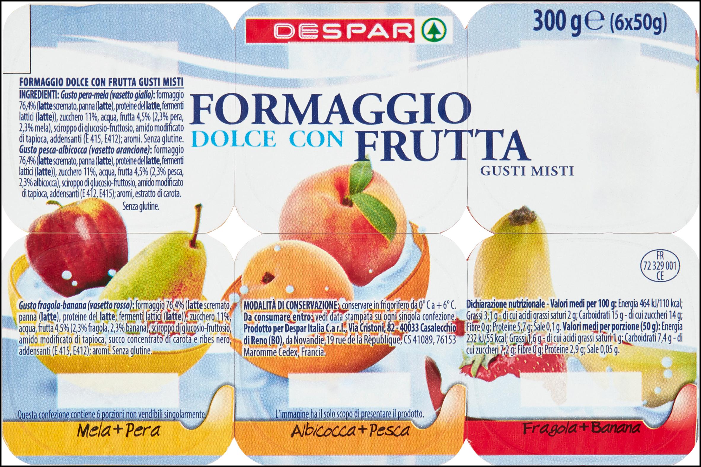 FORMAGGIO FRESCO DESPAR 50GX6 FRUTTA