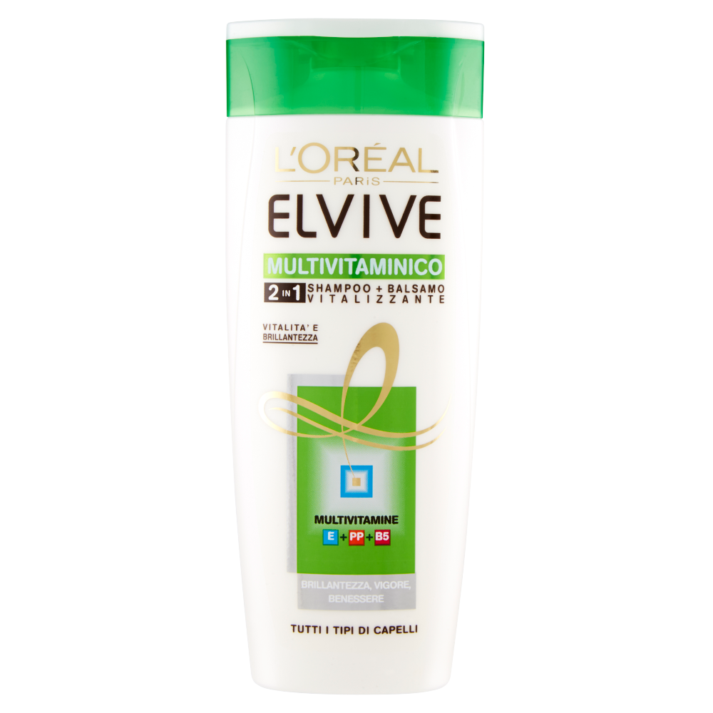 Elvive Multivitaminico 2in1 shampoo + balsamo vitalizzante tutti i tipi di capelli 250 ml