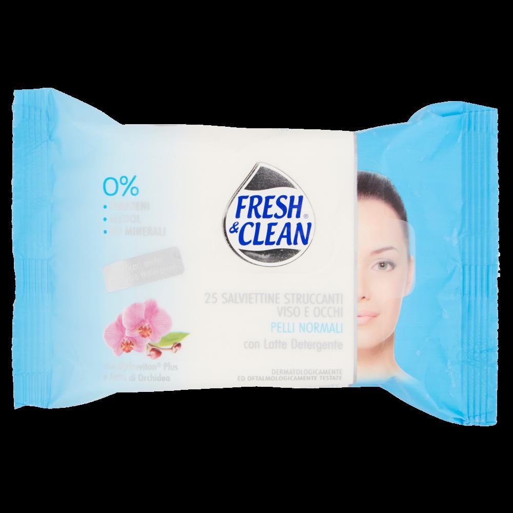 Fresh & Clean Salviettine Struccanti Viso e Occhi Pelli Normali 25 pz
