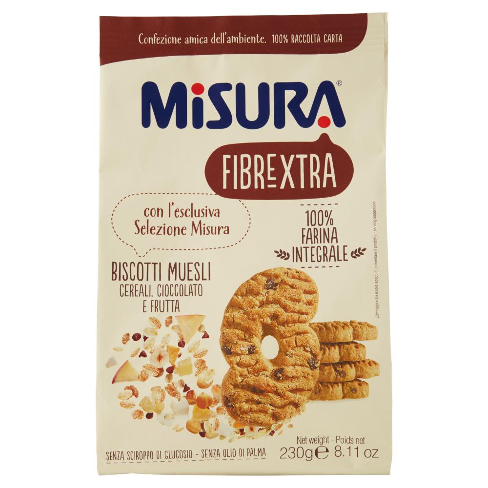 Misura Fibrextra Biscotti Muesli Cereali, Cioccolato e Frutta 230 g