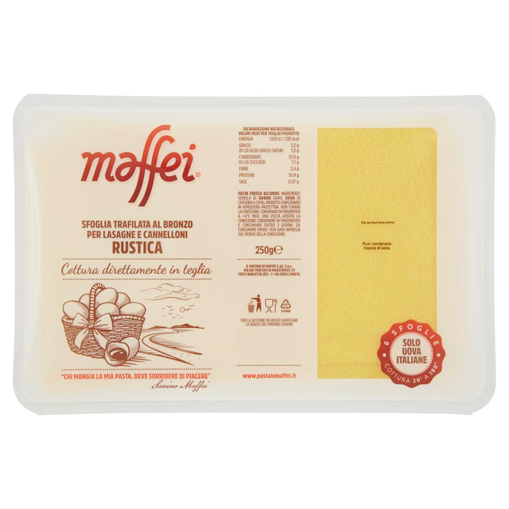 maffei Sfoglia Trafilata al Bronzo per Cannelloni e Lasagne Rustica 6 Sfoglie 250 g
