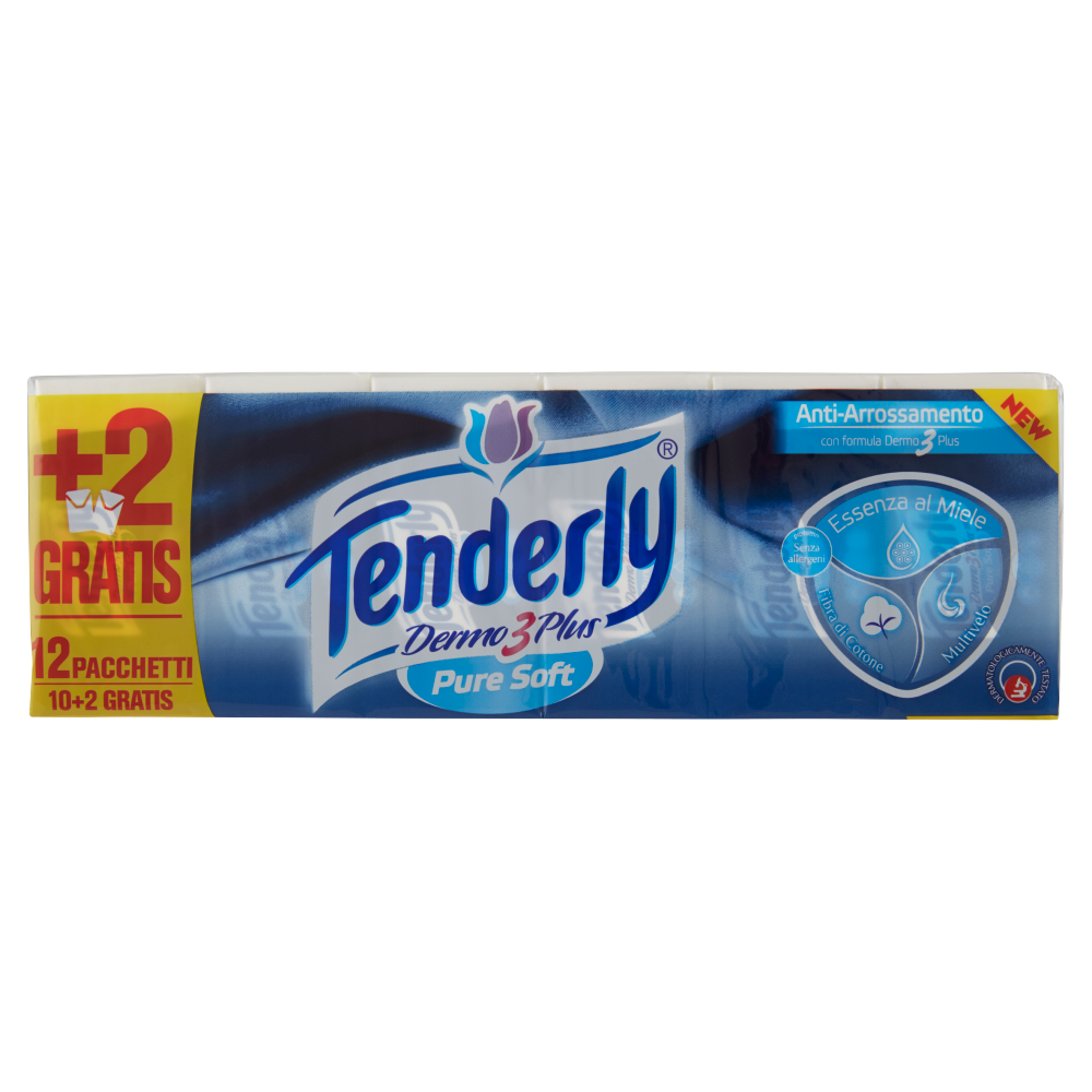 Tenderly Dermo 3 plus pure soft fazzoletti essenza al miele 12 pz.