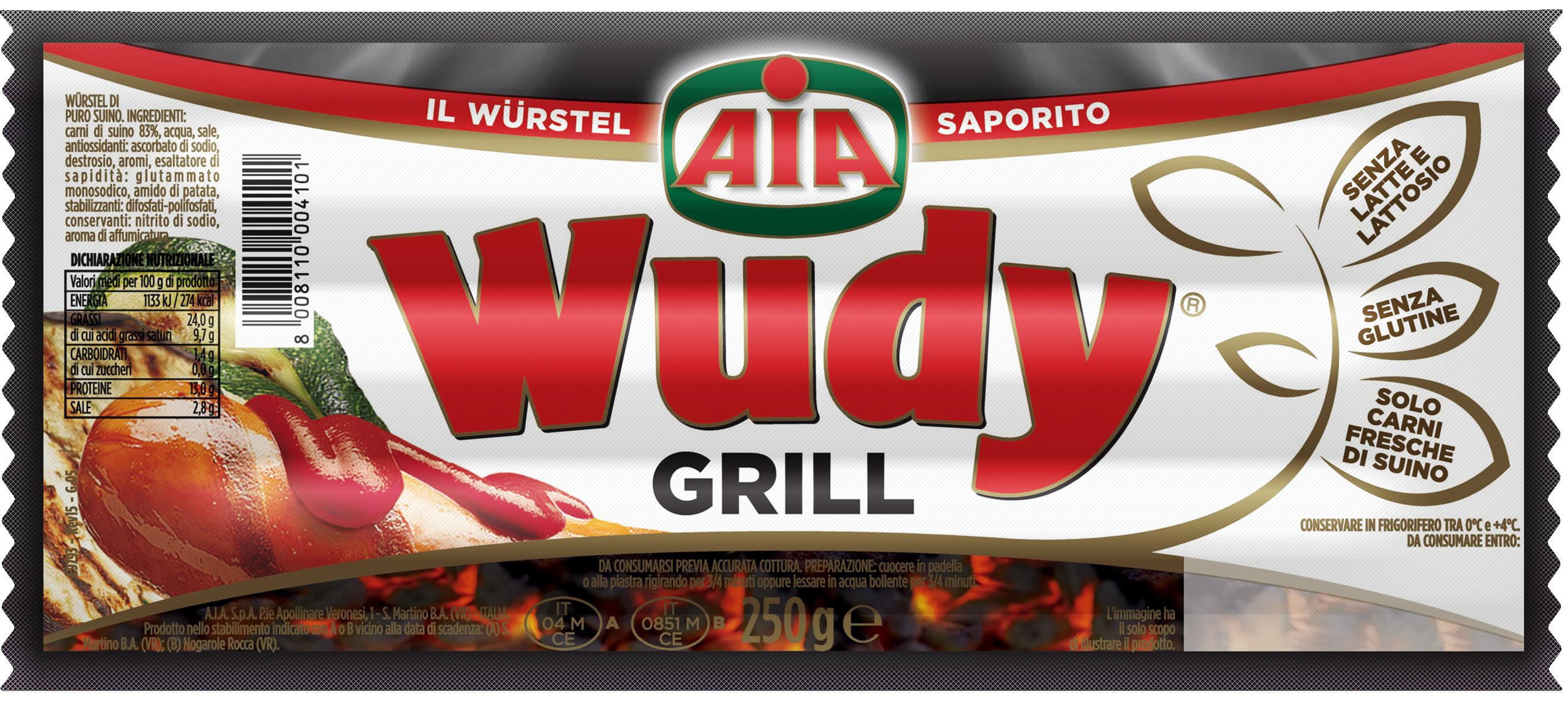WURSTEL WUDY AIA GRILL 250G PURO SUINO