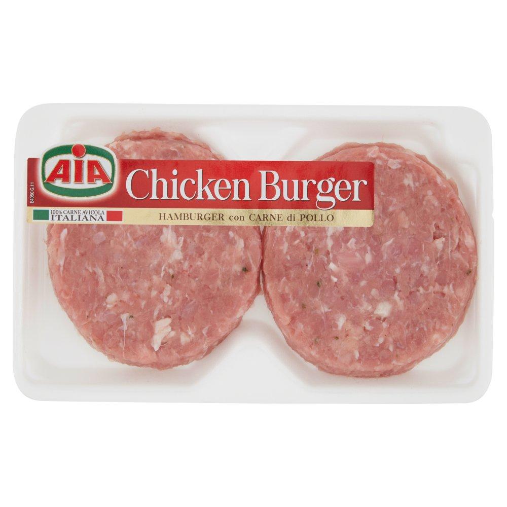 Aia Chicken Burger Hamburger con Carne di Pollo 0,200 kg