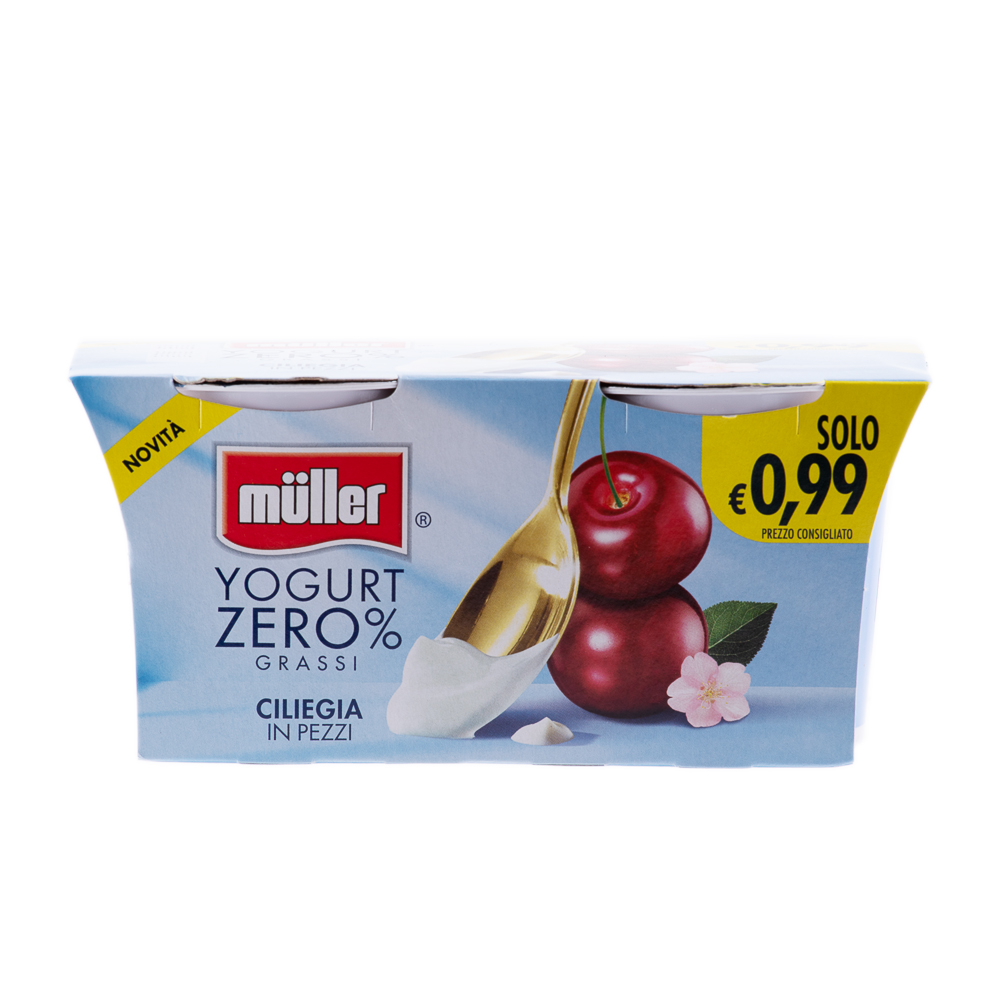 MULLER YOGURT 0%GRASSI CILIEGIA 2X125GR
