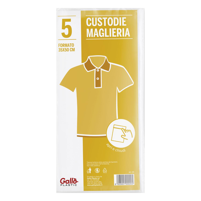 CONFEZIONE 5 CUSTODIE MAGLIE CON ZIP 35X50 CM
