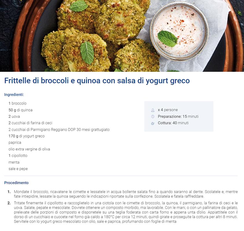 Frittelle di broccoli e quinoa con salsa di yogurt greco