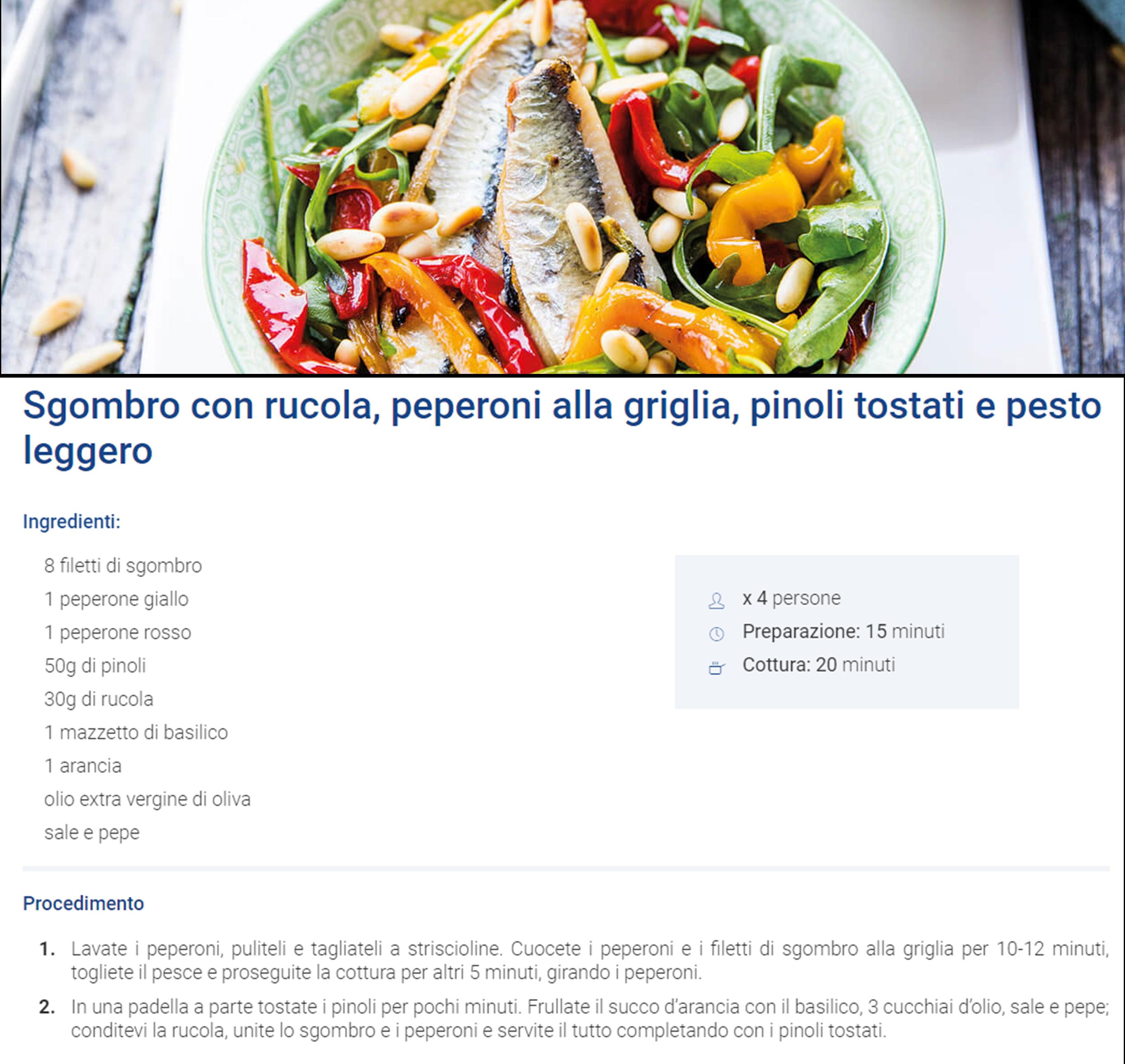 Sgombro con rucola, peperoni alla griglia, pinoli tostati e pesto leggero