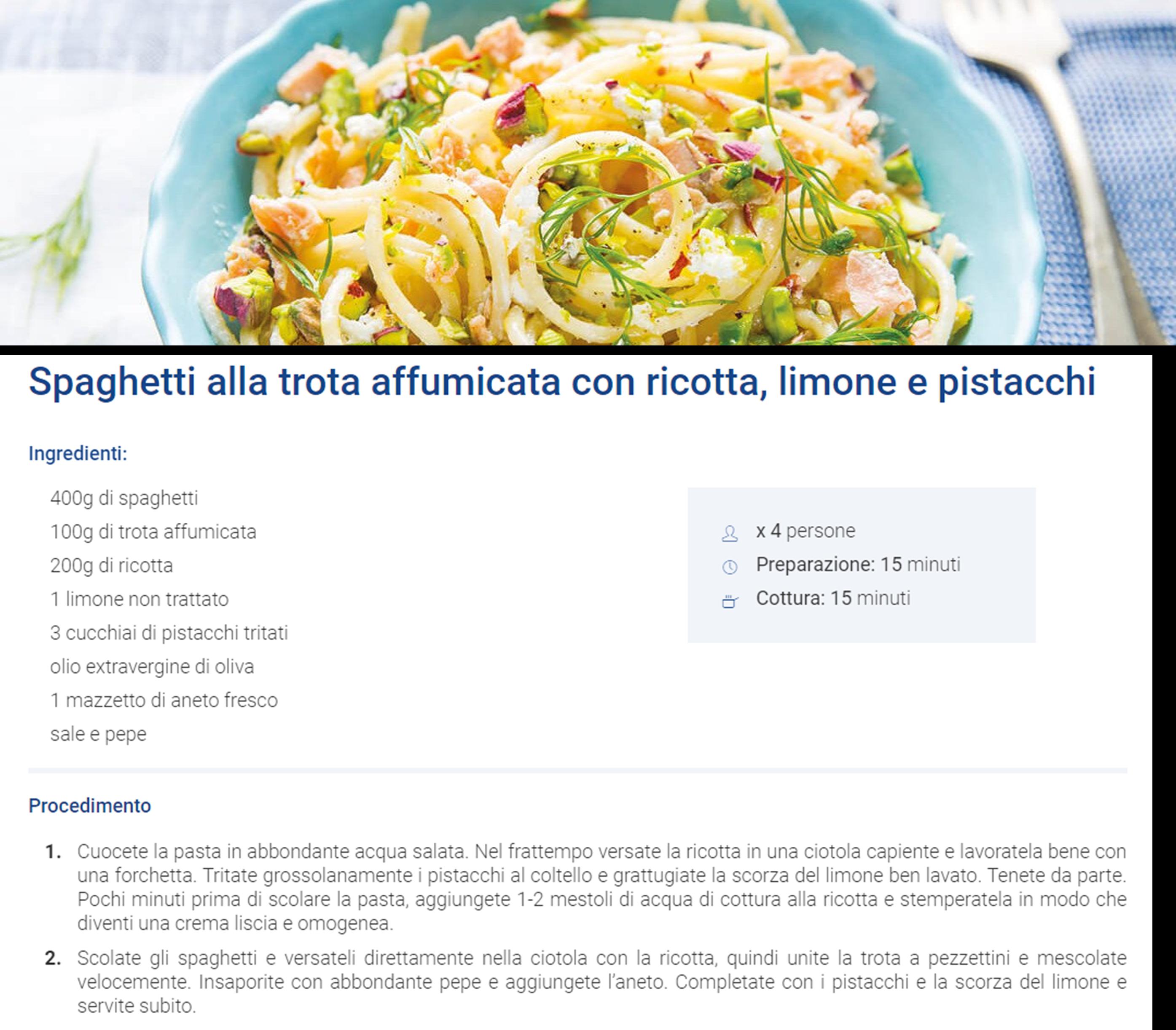 Spaghetti alla trota affumicata con ricotta, limone e pistacchi