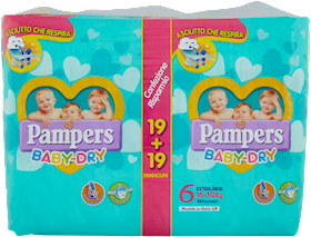 PAMPERS  BABY DRY XL X 38