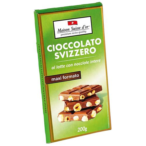 Tavoletta di cioccolato al latte con nocciole intere Maison swiss d'or