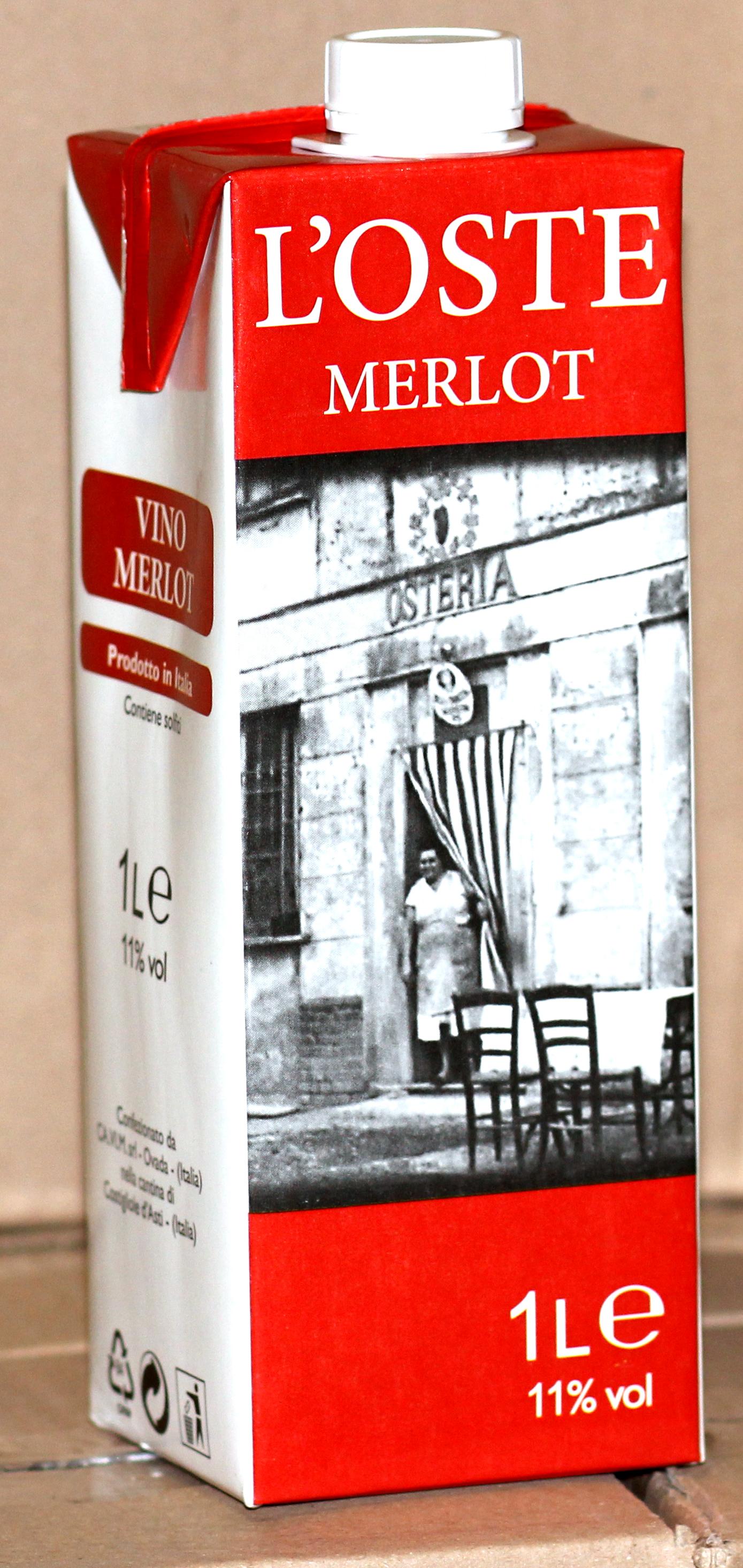 Vino in Brik Rosso Merlot L'Oste